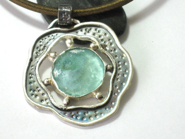 Large Sterling Silver Sea Glass Pendant