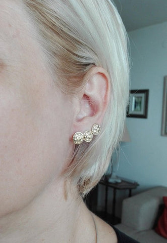 Earlobe Crawler Gold Stud Earrings
