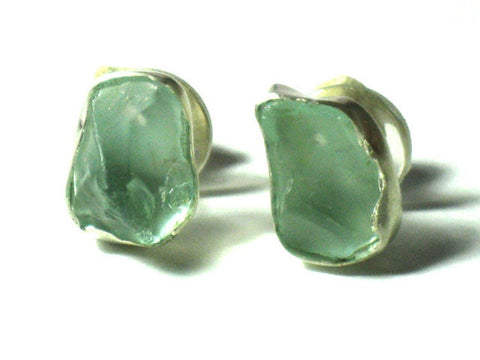 Small Aqua Glass Silver Studs