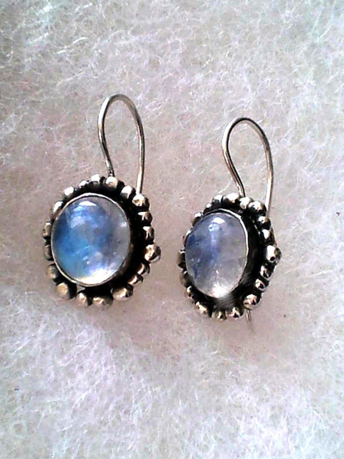 Silver Dangle Earrings with Moonstones