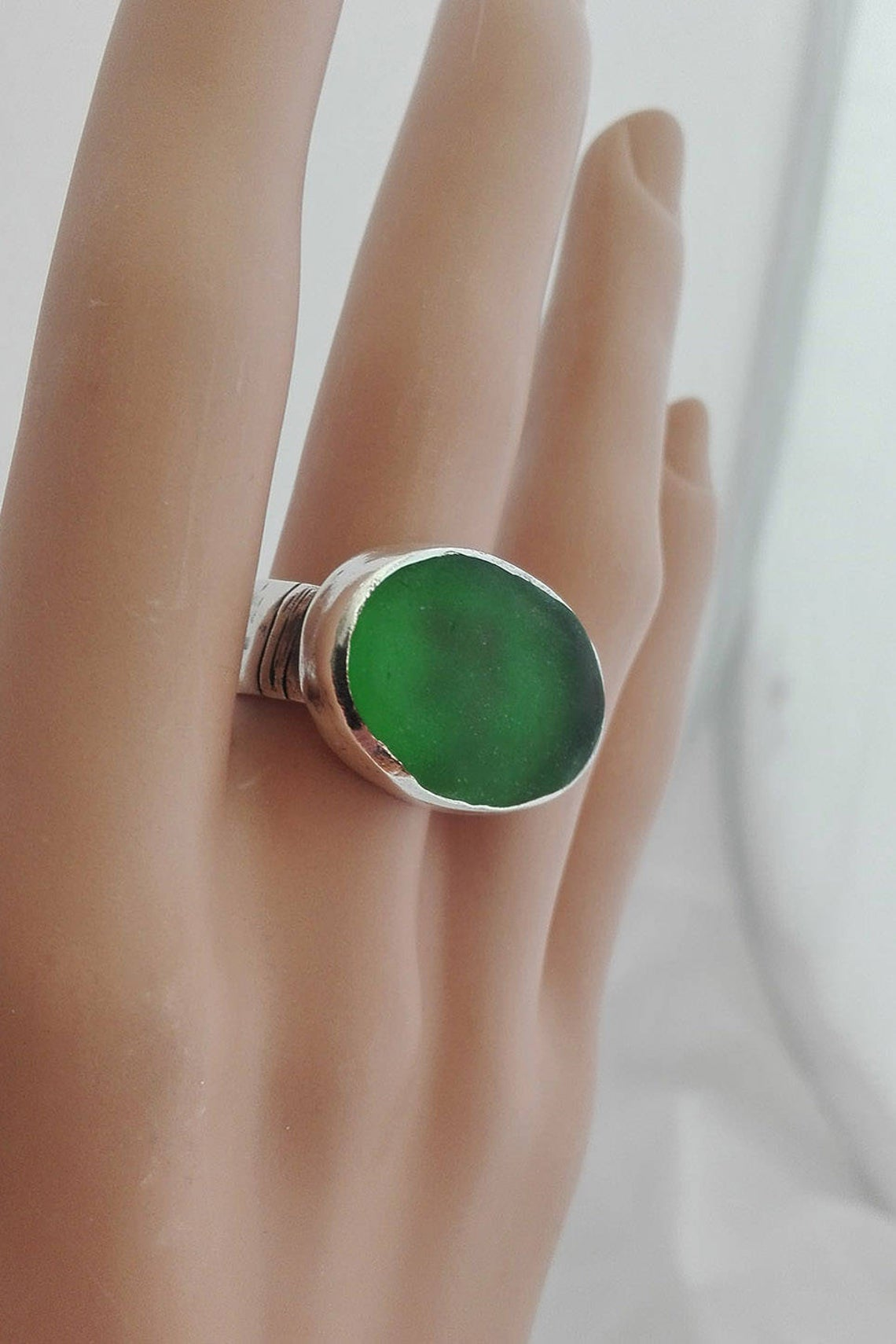 Chunky Sea Glass Silver Ring
