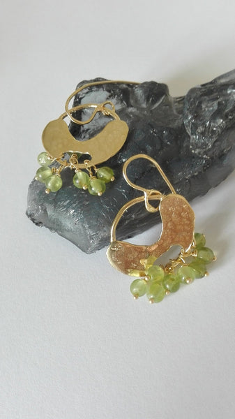 Peridot Gold Dangle Earrings