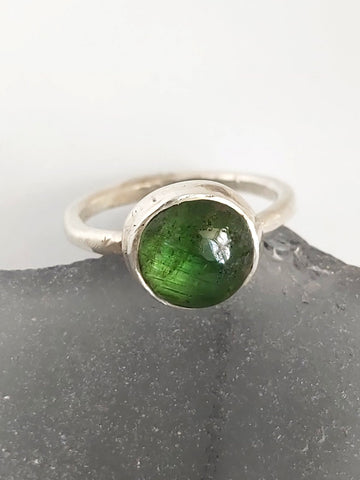 Green Tourmaline Silver Stacking Ring