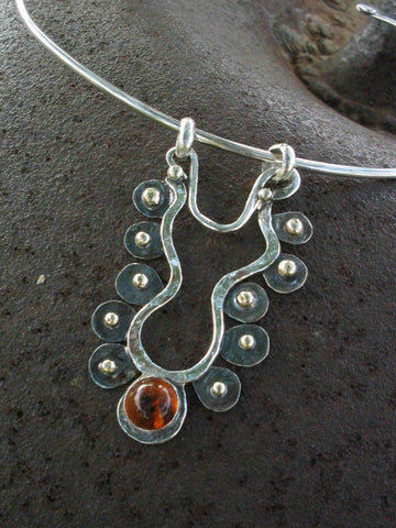Art Sterling Gold Amber Necklace