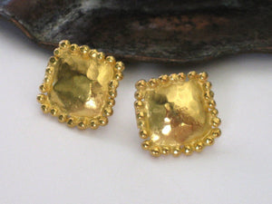 Square Yellow Gold Stud Earrings