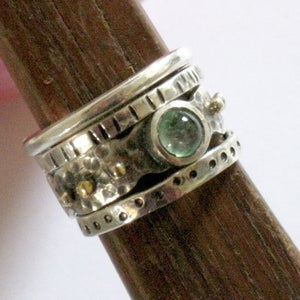 Stackable Silver Gold Gemstone Tourmaline Ring