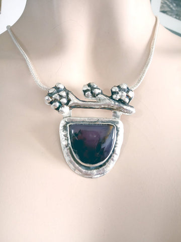 Large Art Amethyst Silver Necklace.