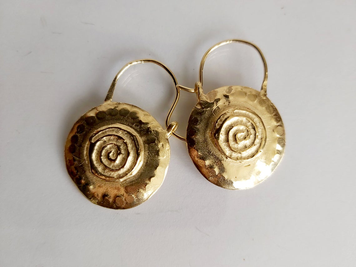 Round Gold Spiral Earring Hoops