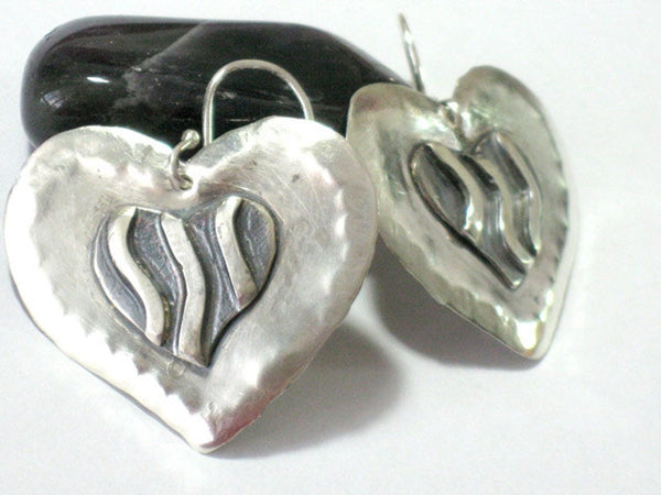 Large Dangle Silver Heart Earrings