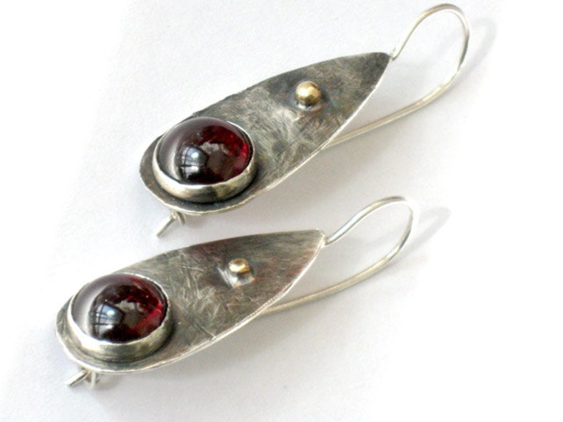 Garnet Sterling Gold Dangle Earrings