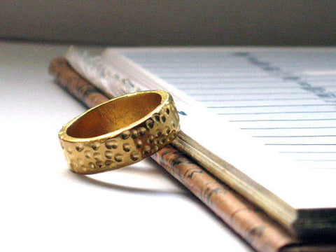 Hammered Solid 14k Gold Wedding Band