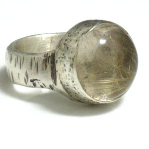 Silver and Rutilated Quartz Ring
