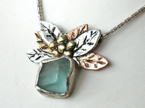 Sea Glass Mixed Metals Pendant Necklace