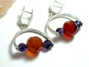 Silver Carnelian and Amethyst Dangle Earrings