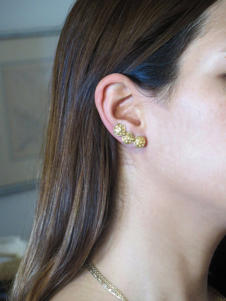 Textured Gold Ear climbers