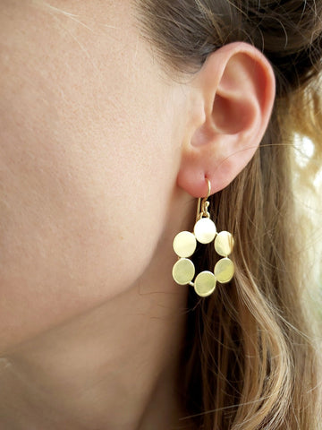 Circle Gold Earrings,Gold Geometric Earrings,Modern Geometric Dangles,Statement Dangles,Flat Earrings,Statement Earrings,Mother's Day Gift