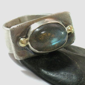 Sterling and Gold Oval Labradorite Ring
