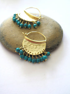 Turquoise Chandelier Gold Hoop Earrings