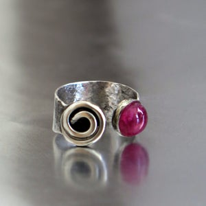 Adjustable Silver Tourmaline Open Ring