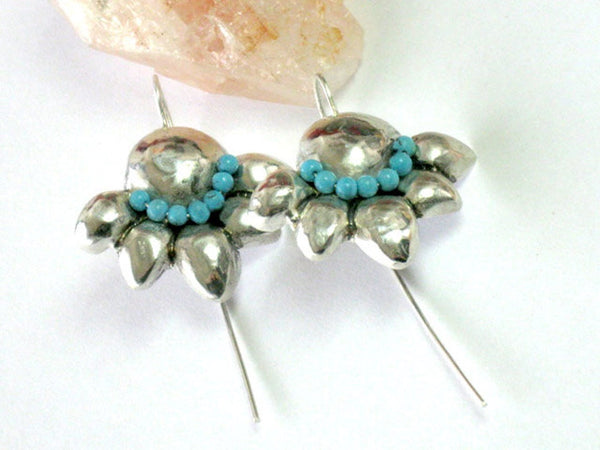 Hammered Silver Turquoise Dangles