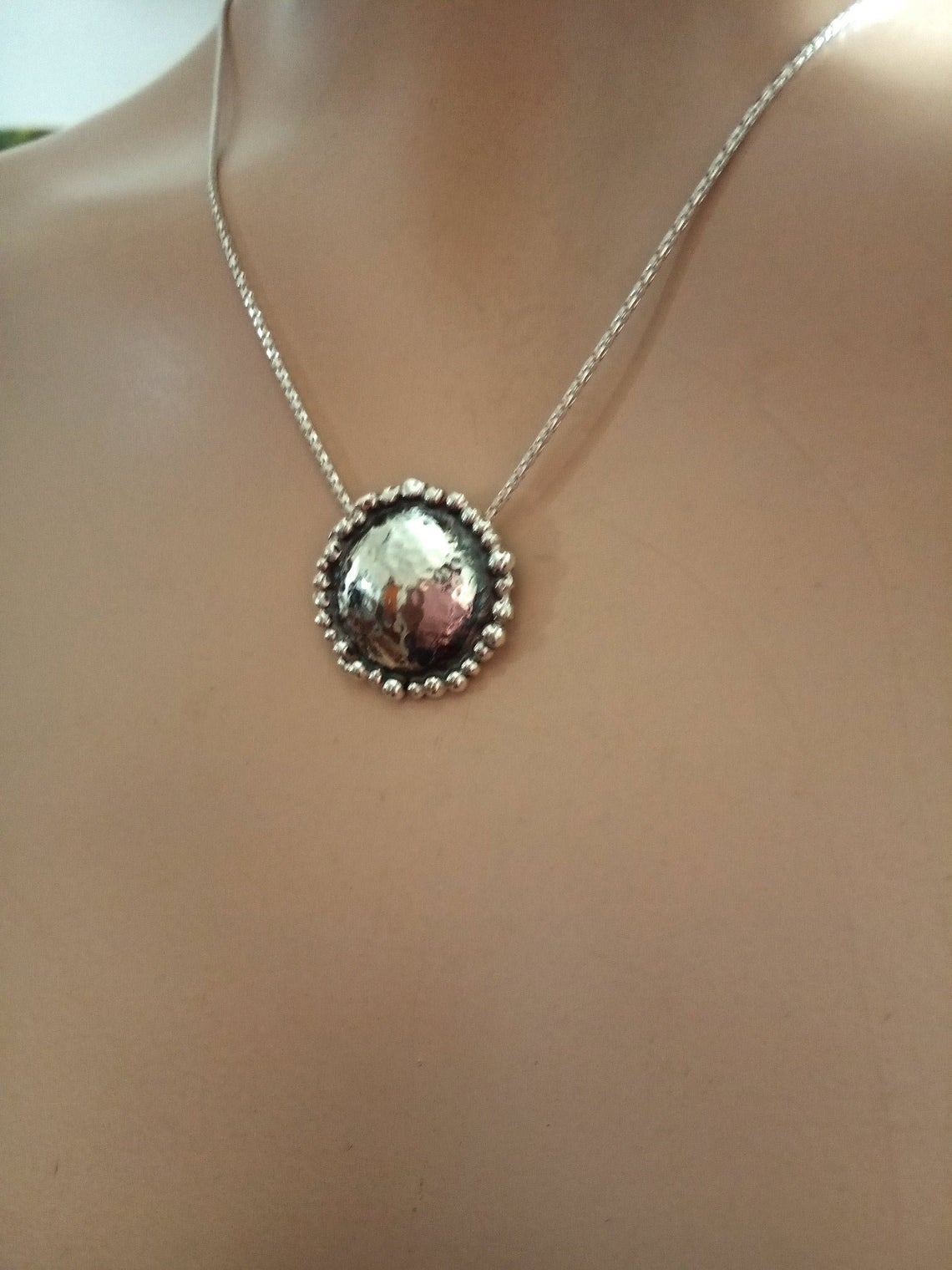 Round Dome Sterling Pendant Necklace