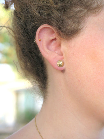 Small Hammered Gold Stud Earring
