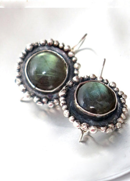 Labradorite Silver Dangle Earrings.