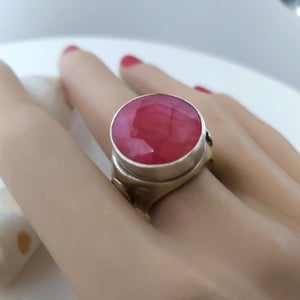 Handmade ruby ring,Silver Brass Stone,Ruby Red Ring,Large Ruby Ring,Gemstone Jewelry,Ruby Jewelry,Gemstone Ring,Red Ring,Gift for Her