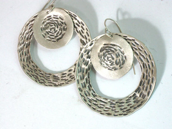 Large Round Sterling Textured Dangle Loop Earrings