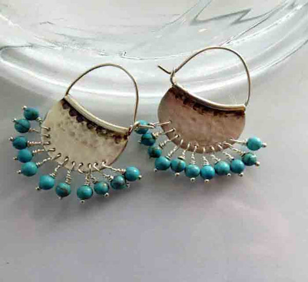 Turquoise Birthstone Chandelier Silver earrings