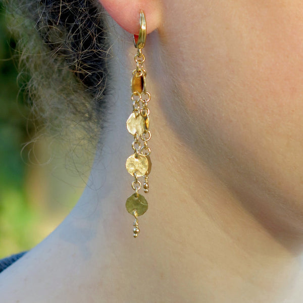 Long Gold Hammered Chain Dangle Earrings