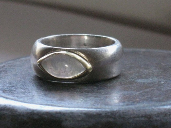 Moonstone Eye Shaped Silver Ring
