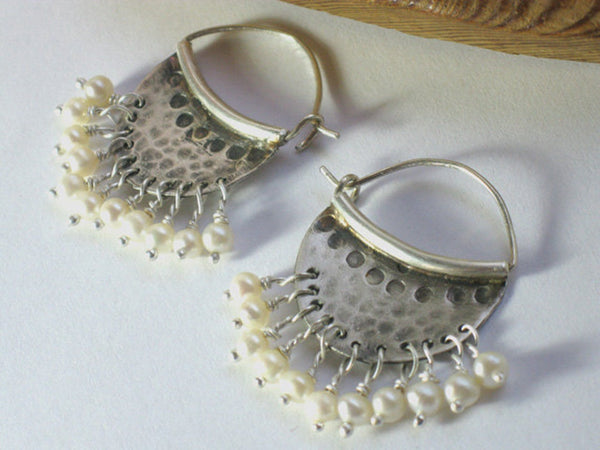 Silver Hammered Pearl Hoop Earrings