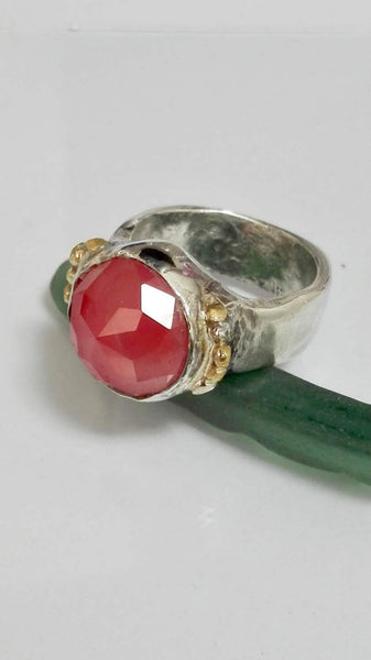 Solid Silver and Gold Pink Stone Ring.