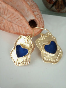 Blue Gold Heart Glass Earrings