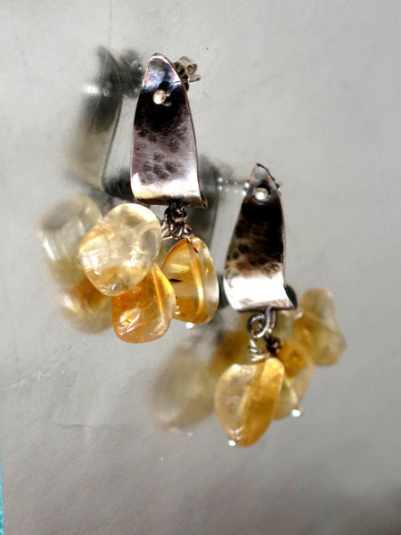 Silver and Citrine Stud Dangle Earrings