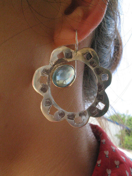 Large Silver Stone Flower Earrings