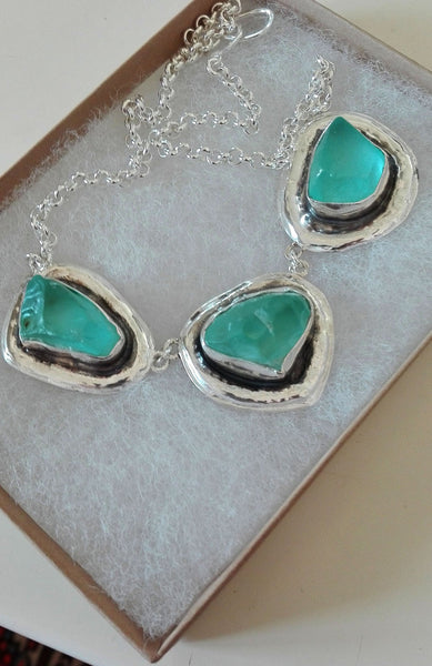 Silver Aqua Blue Sea glass Necklace