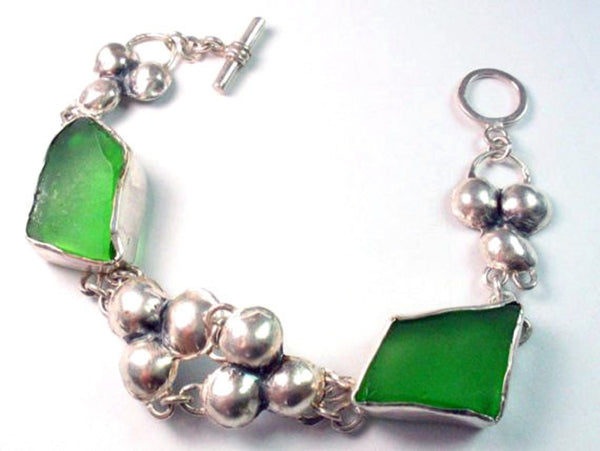Statement Hammered Silver and Sea Glass Bracelet