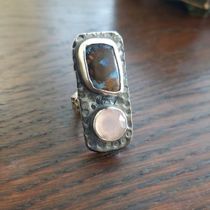 Rectangle Silver Opal and Chalcedony Ring