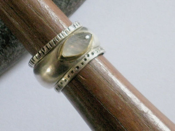 Moonstone Silver and Gold Ring