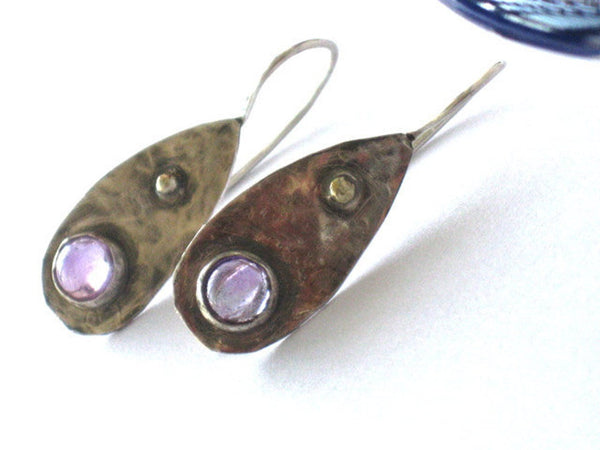 Amethyst Bezel Set Silver Gold Earrings