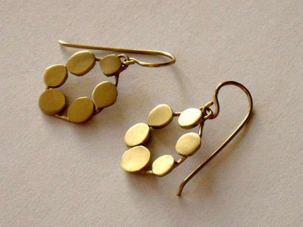 Gold Geometric Handmade Flower Earrings