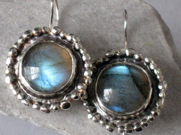 Round Silver Labradorite Dangle Earrings