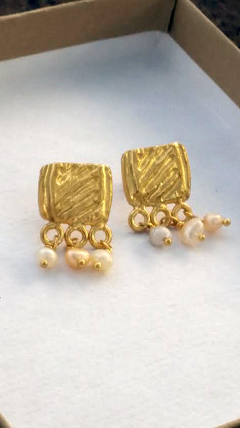 Gold Pearl Stud Dangle Earrings