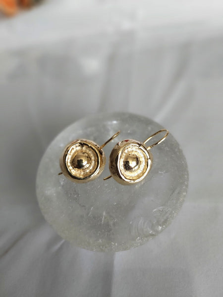 Round Hammered Gold Dangle Earrings