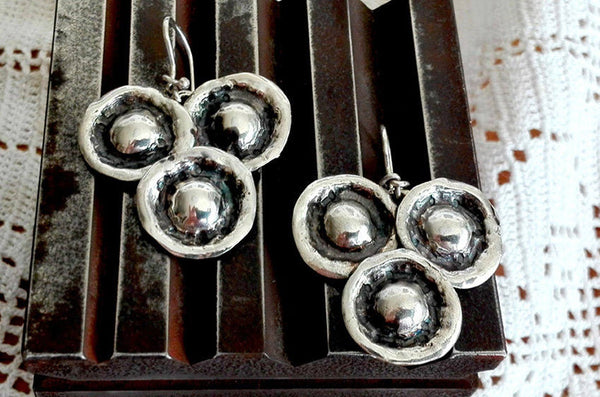 Hammered Silver Dome Triangle Dangles