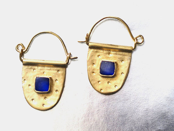Gold and Blue Glass Hoops