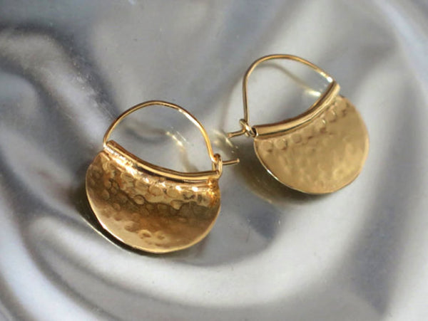 Hammered Gold Ear Hoops