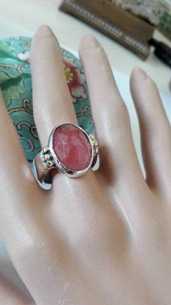 Two Tone Rose Cut Pink Stone Ring